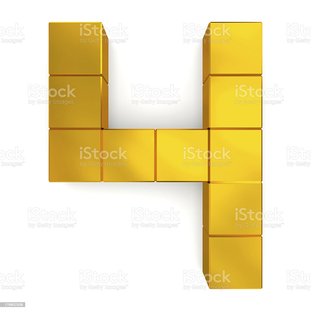number 4 cubic golden royalty-free stock photo