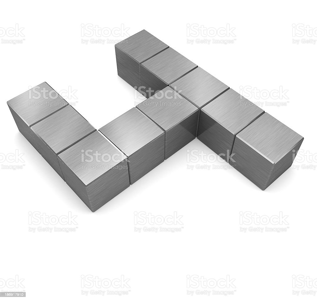 number 4 cubic metal royalty-free stock photo