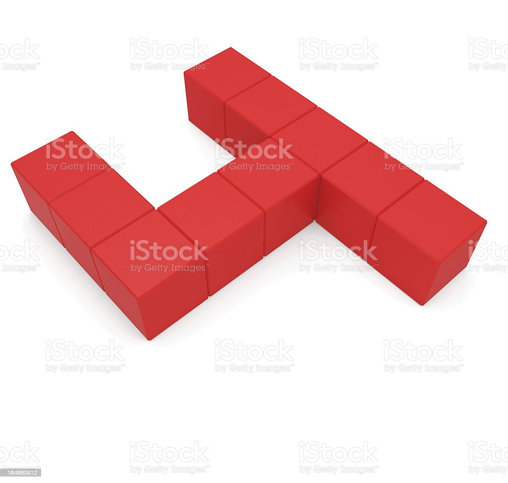 number 4 cubic red royalty-free stock photo