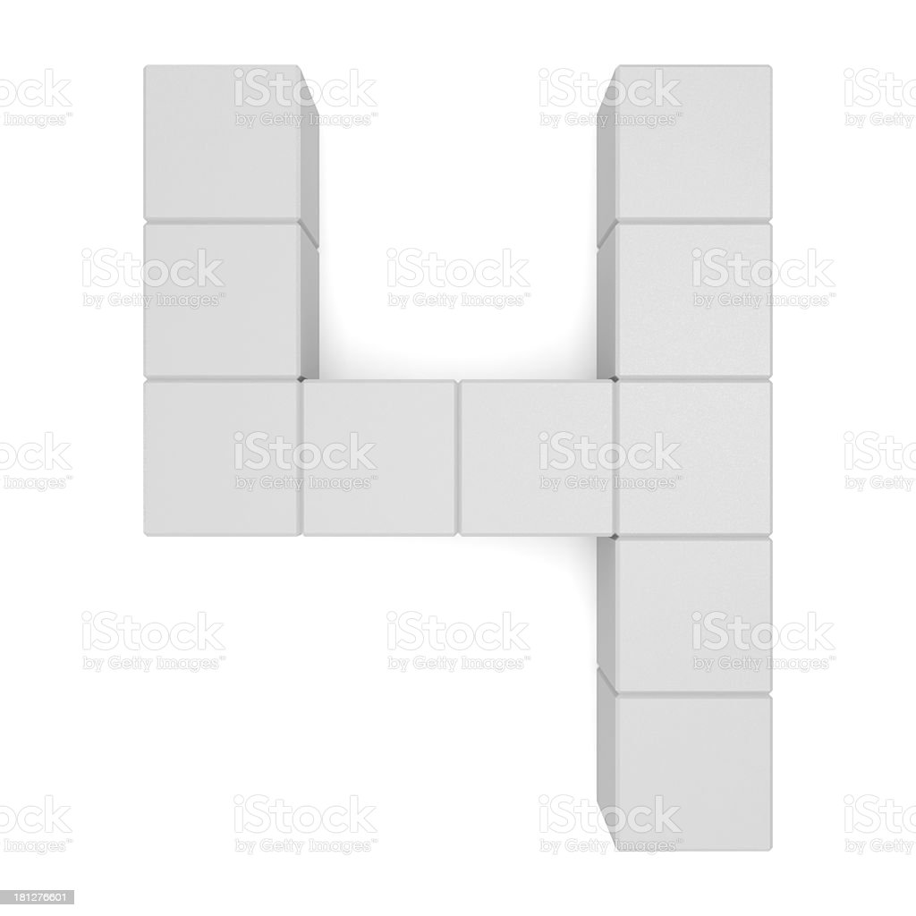 number 4 cubic white stock photo