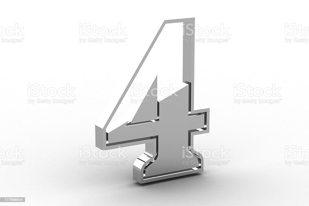 Number 4 from chrome solid alphabet royalty-free stock photo