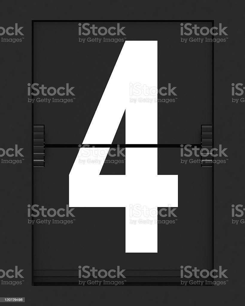 Number 4  from mechanical timetable board royalty-free stock photo