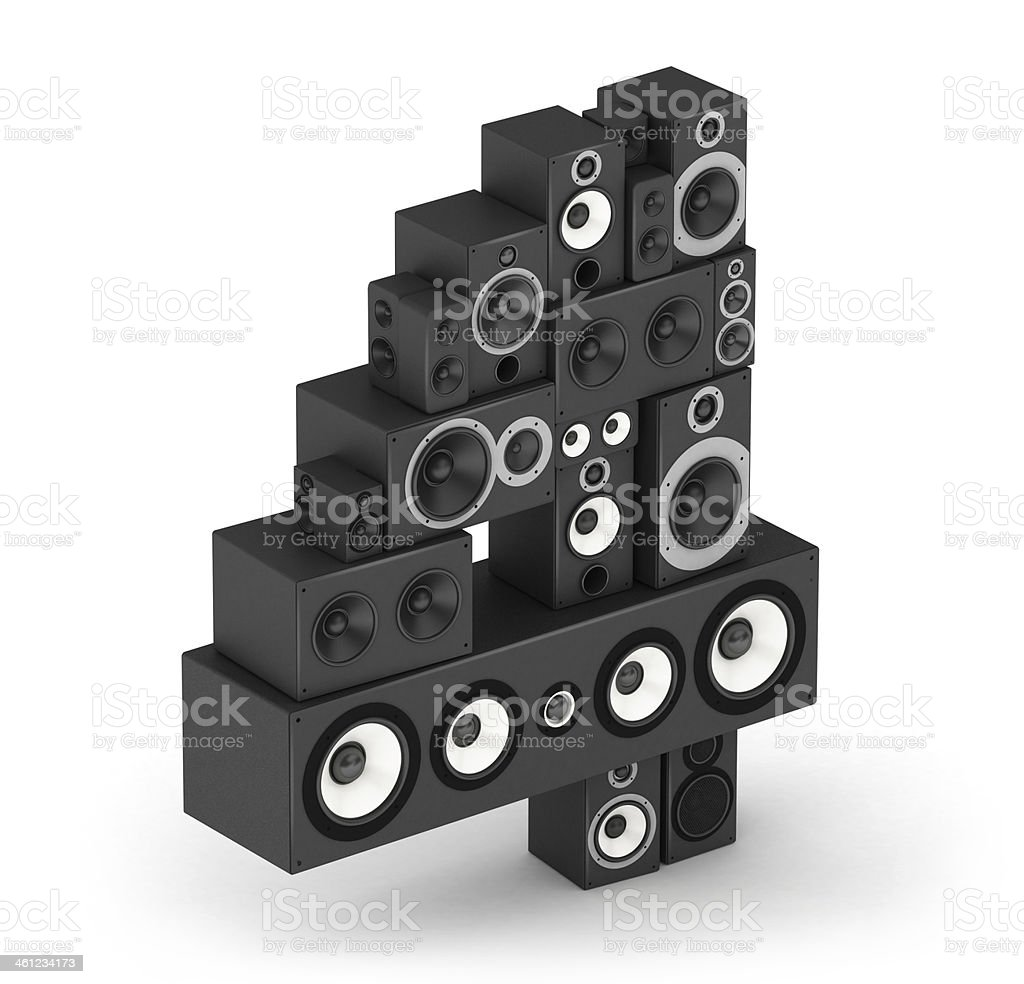 Number 4 from speaker in isometry stock photo