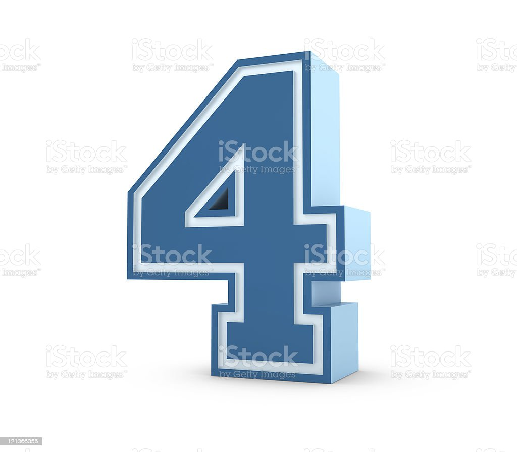 Number 4 in School Style royalty-free stock photo