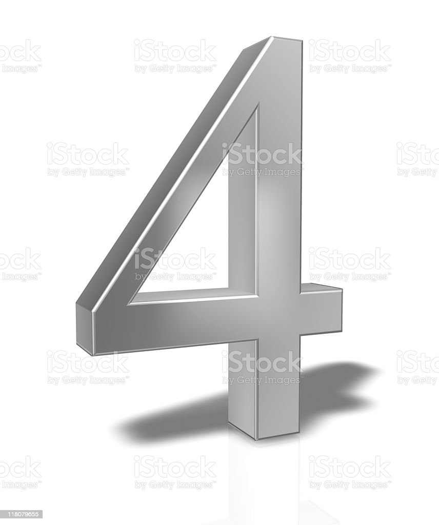 3D Number 4 isolated on white background royalty-free stock photo