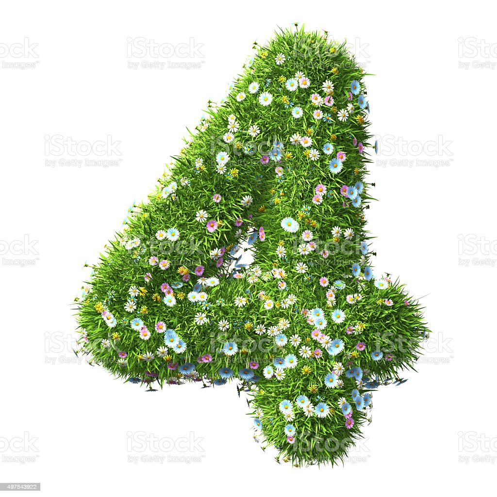 Number 4 Of Grass And Flower stock photo