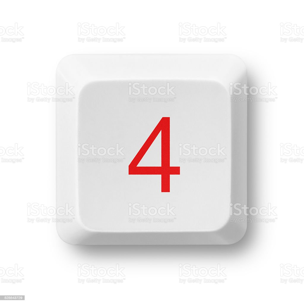 Number 4 on a computer key isolated on white stock photo
