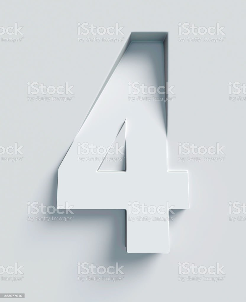 Number 4 slanted 3d font engraved and extruded from surface stock photo