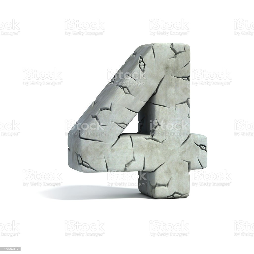 number 4 stone 3d font stock photo