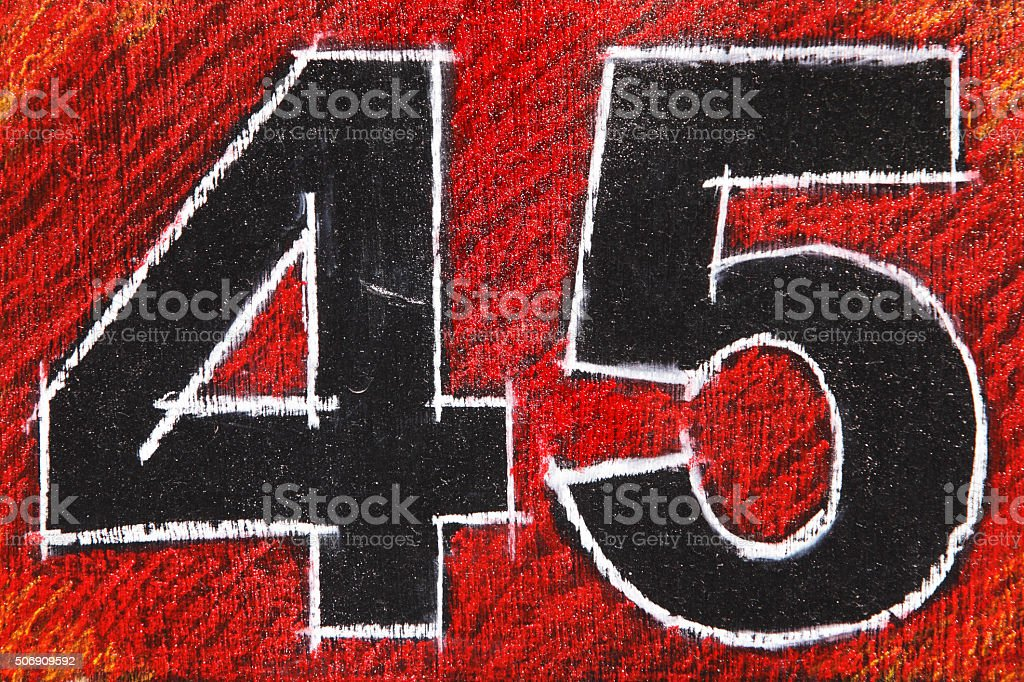 Number 45 Forty Five Chalkboard stock photo