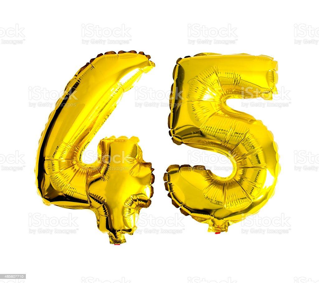 Number 45 written with foil balloons stock photo