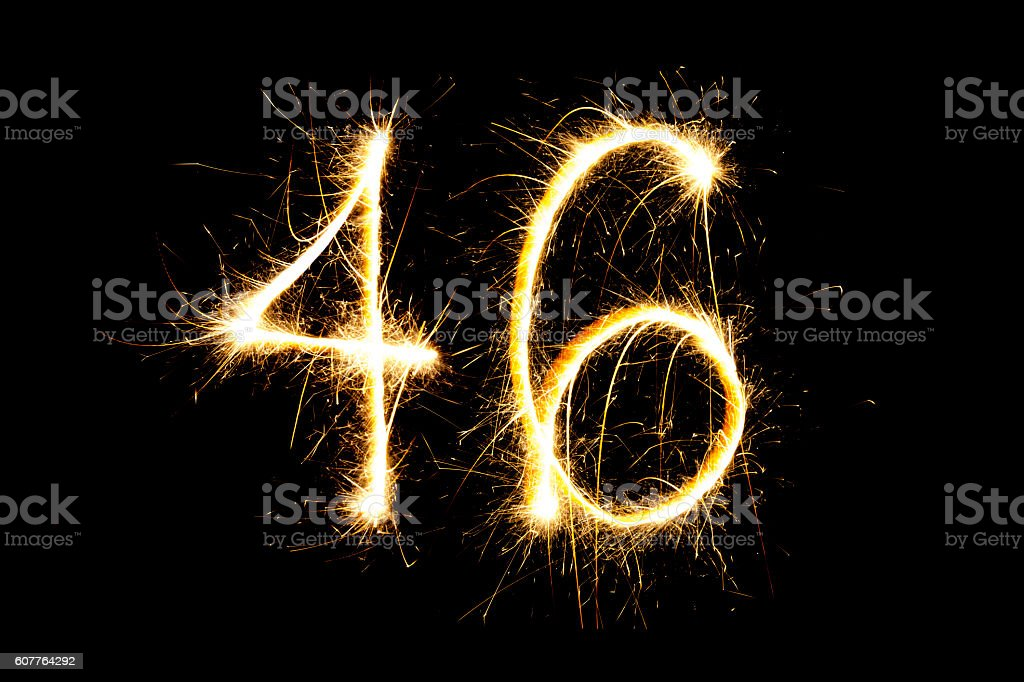 Number 46 made with sparklers stock photo