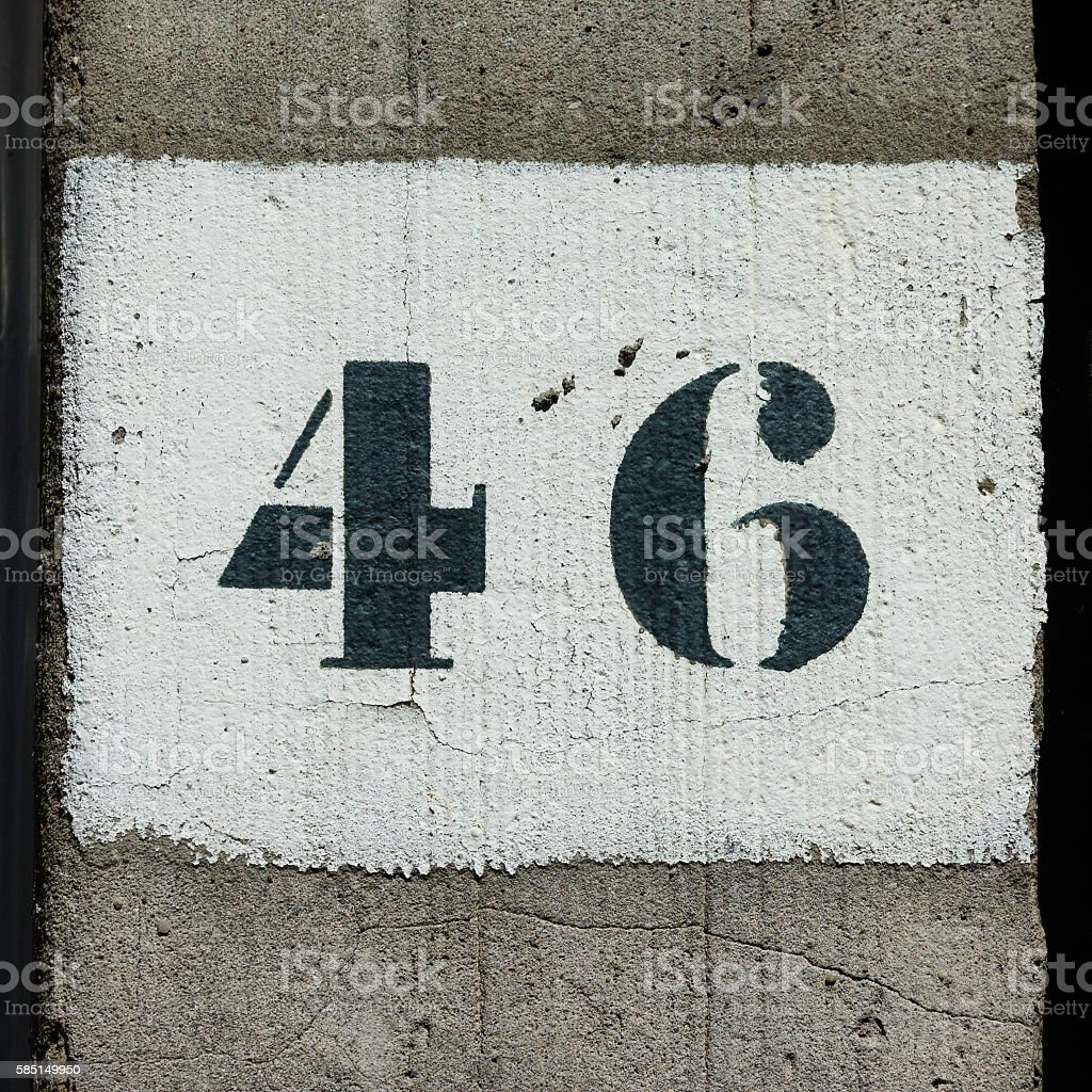 Number 46 stock photo