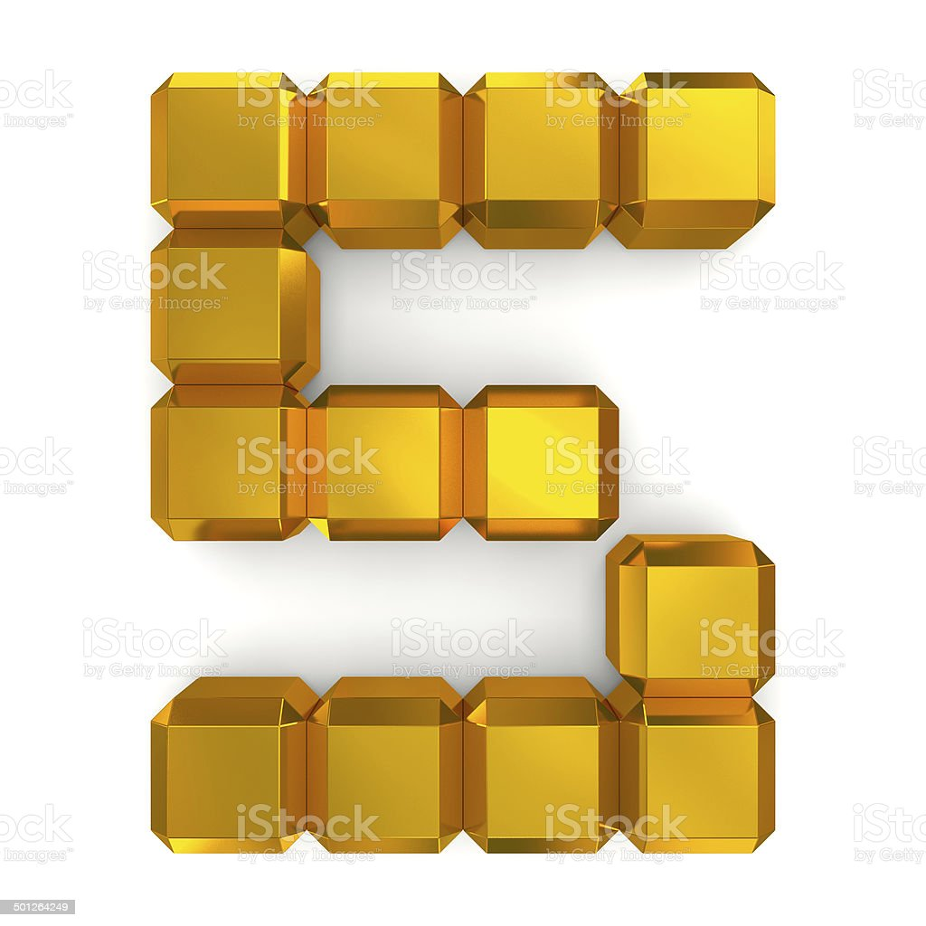 number 5 cubic golden stock photo