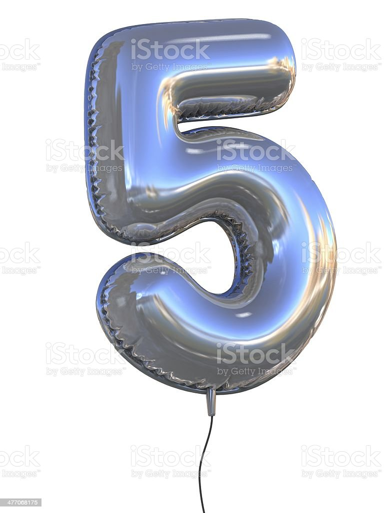 number 5 five balloon font stock photo