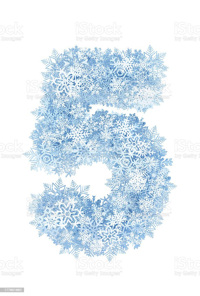 Number 5, frosty snowflakes stock photo