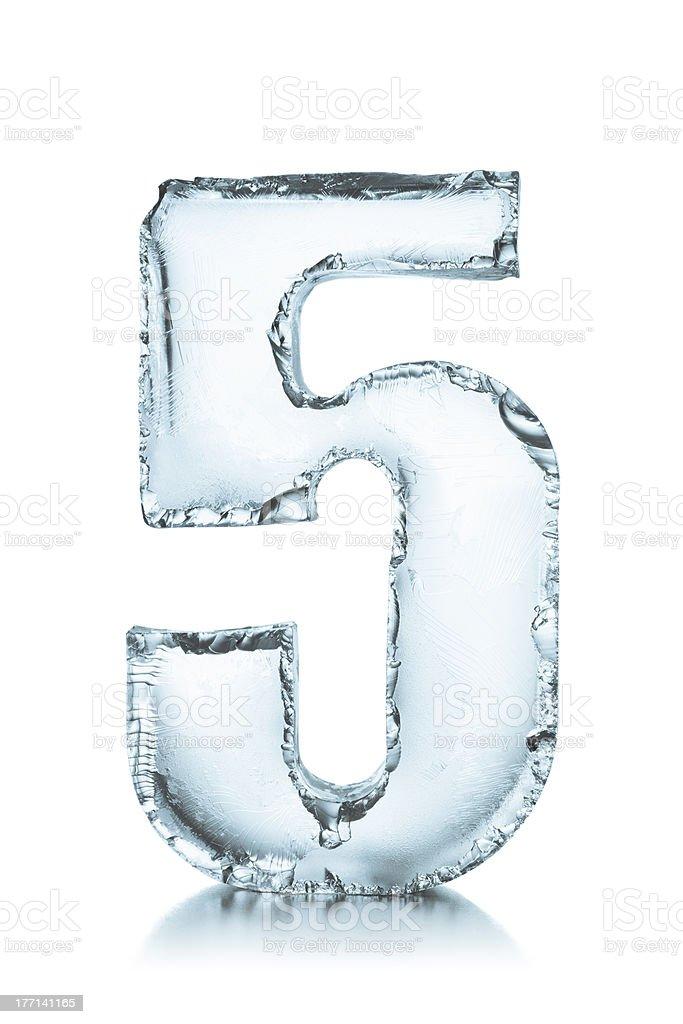 Number 5 frozen ice block stock photo