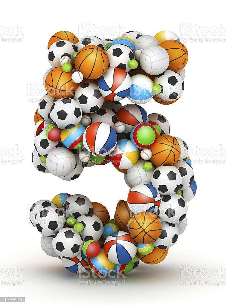 Number 5, gaming balls alphabet royalty-free stock photo