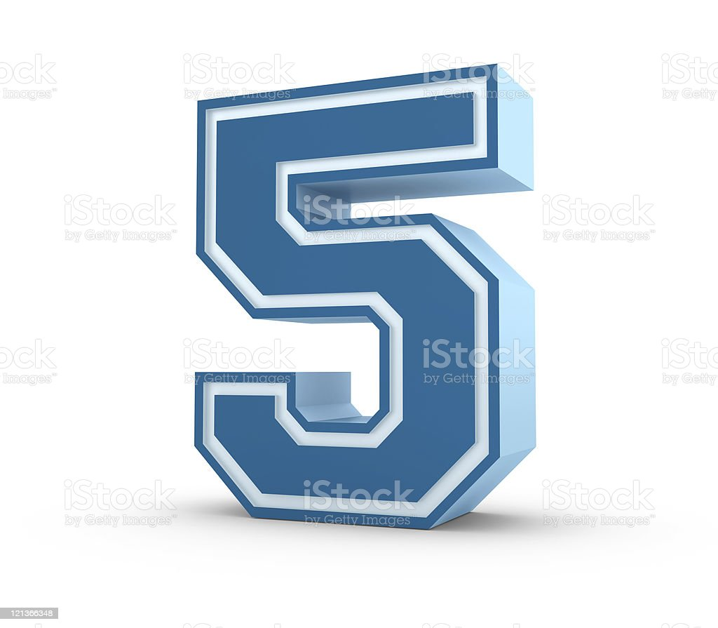 Number 5 in School Style royalty-free stock photo
