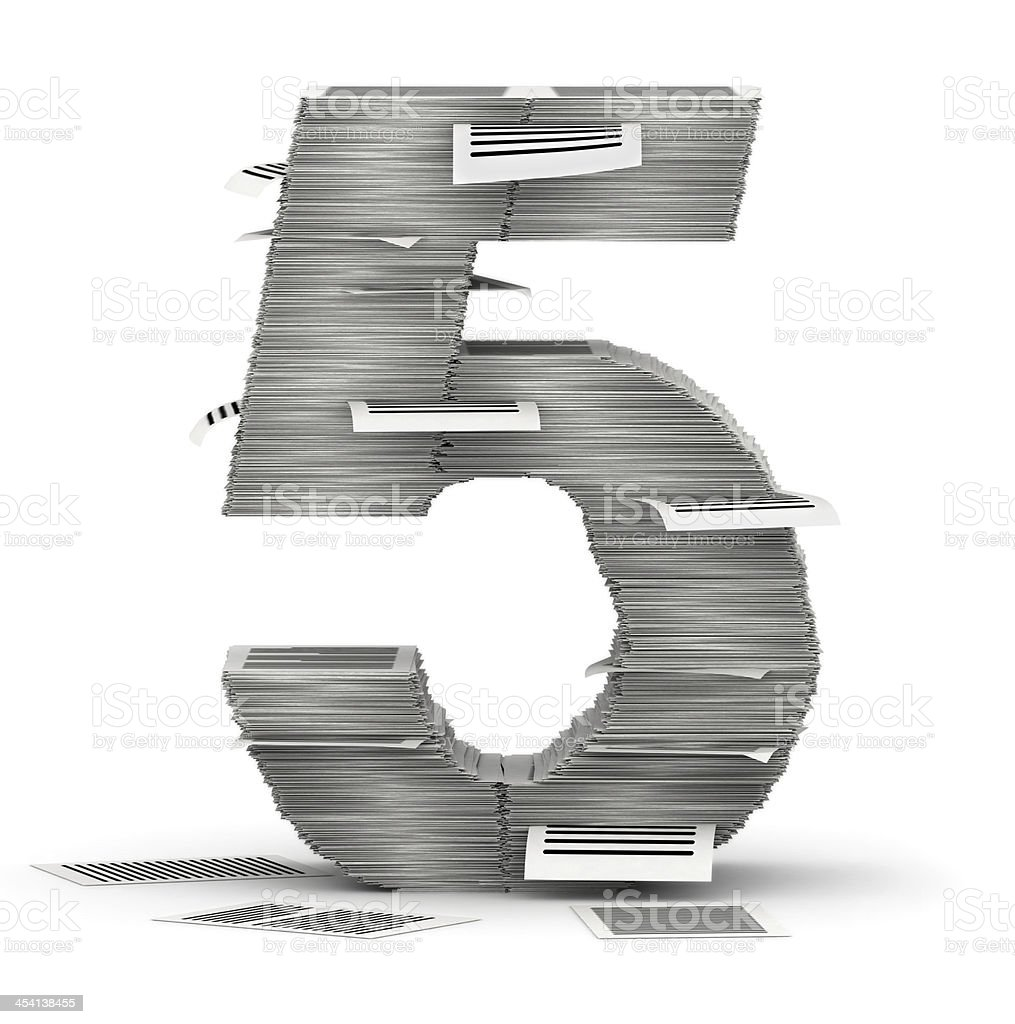 Number 5, pages paper stacks font stock photo
