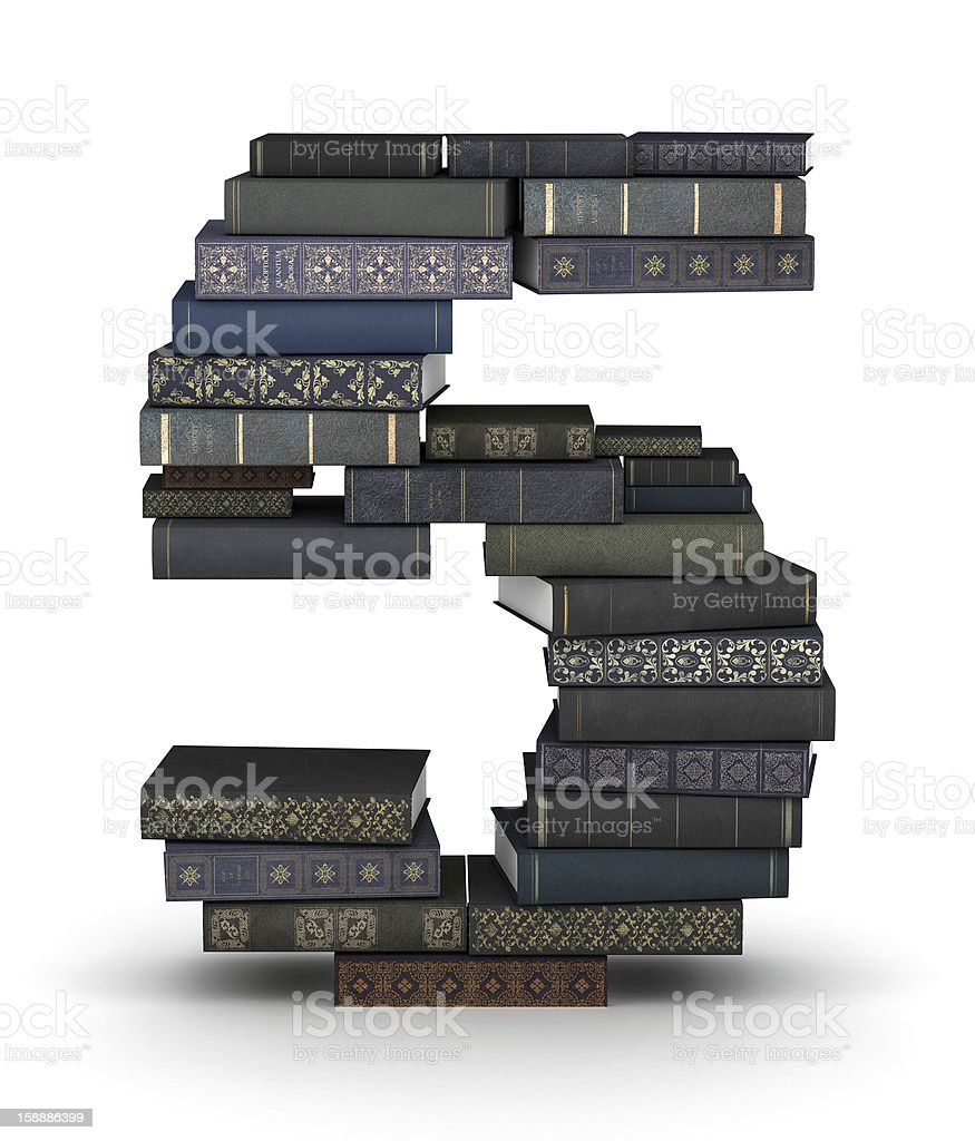 Number 5, stack of books royalty-free stock photo