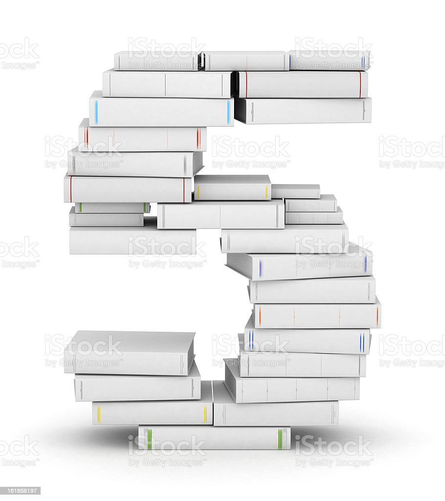 Number 5, stacked from blank books royalty-free stock photo