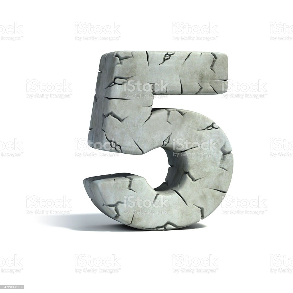 number 5 stone 3d font stock photo