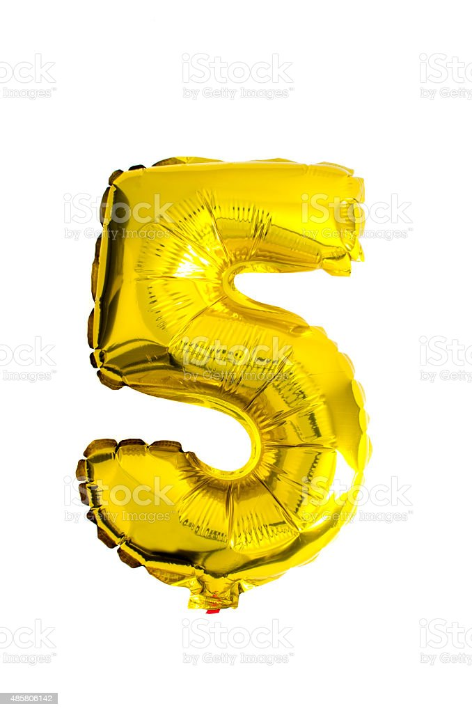 Number 5 written with foil balloons stock photo