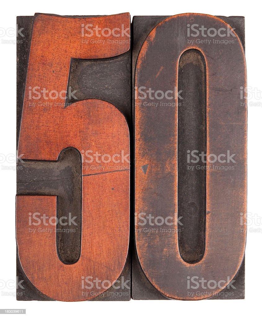 Number 50 letterpress stock photo