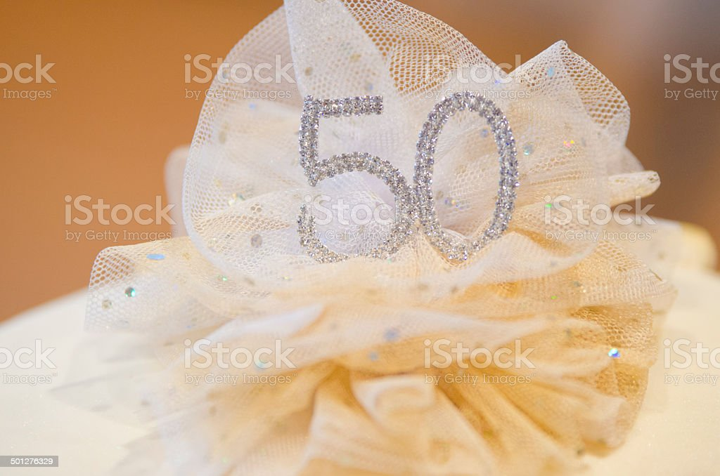Number 50 on a birthday cake stock photo