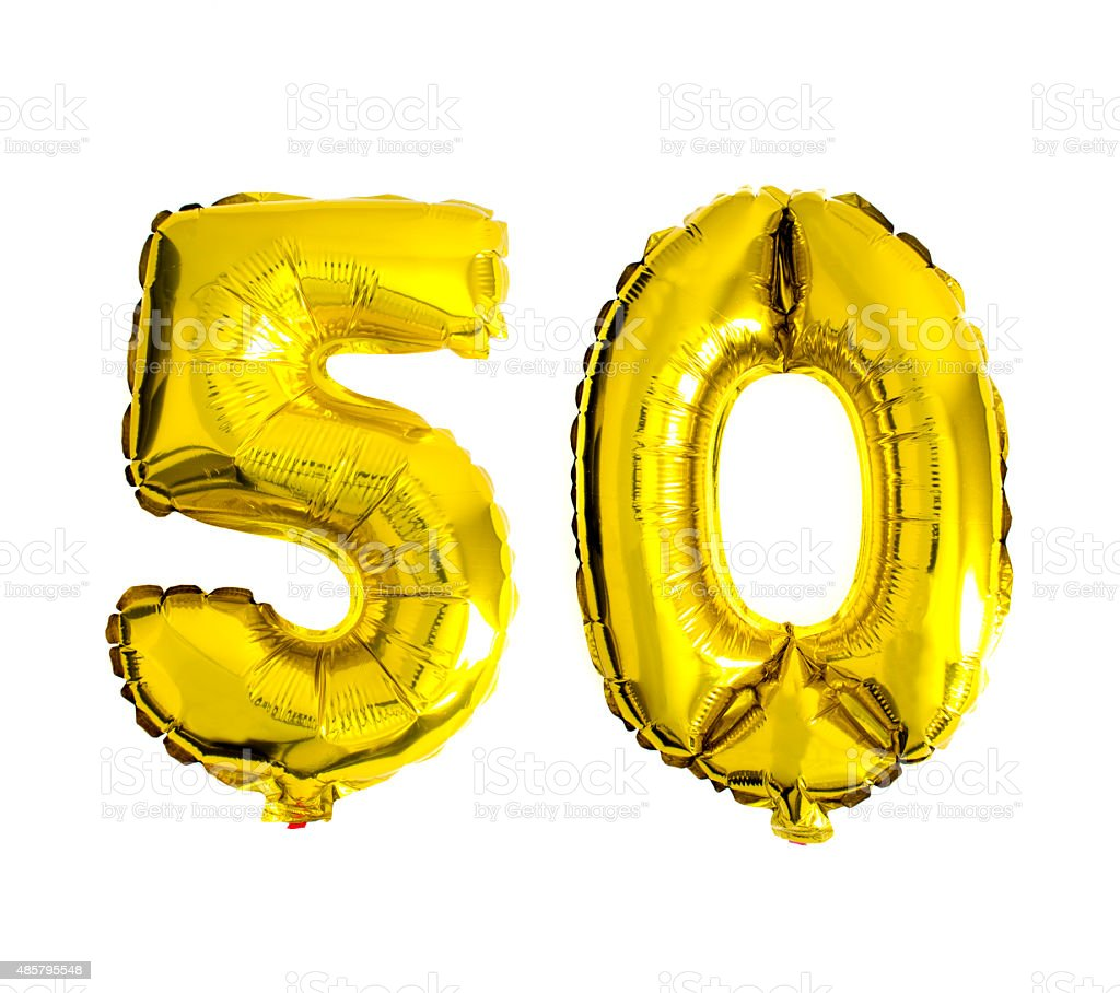 Number 50 written with foil balloons isolated on white stock photo
