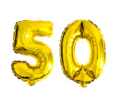 Number 50 written with foil balloons isolated on white