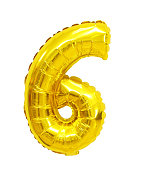 number 6 (six) from balloons