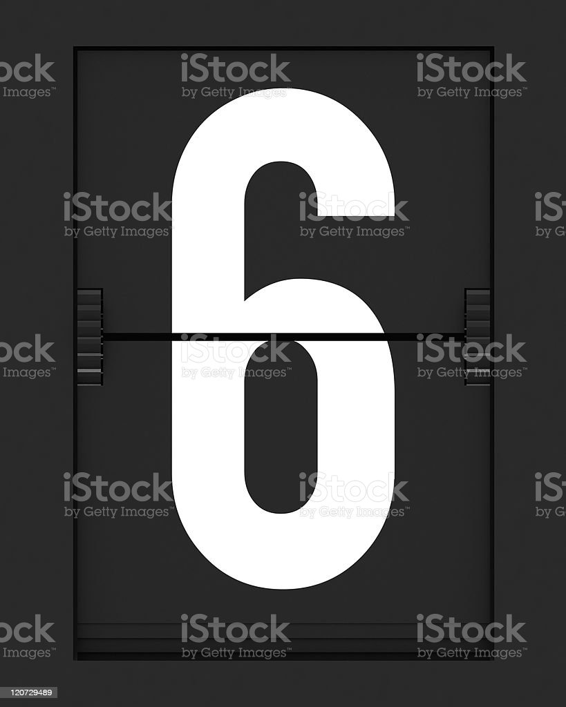 Number 6  from mechanical timetable board royalty-free stock photo