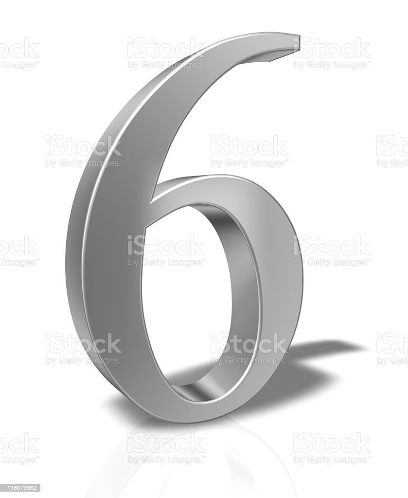 3D Number 6 isolated on white background royalty-free stock photo