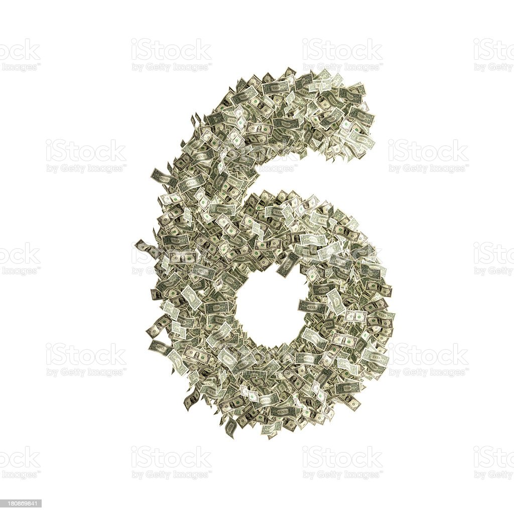 Number 6 made from Dollar bills royalty-free stock photo