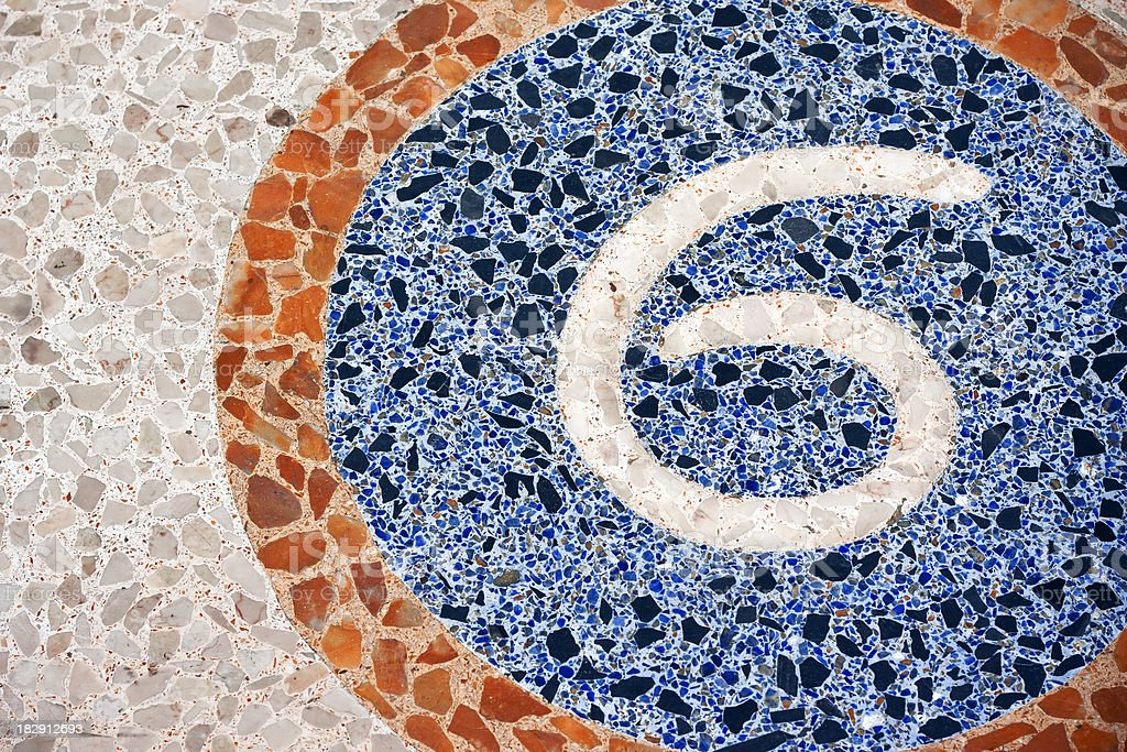 Number 6 on Exterior Mosaic Floor royalty-free stock photo