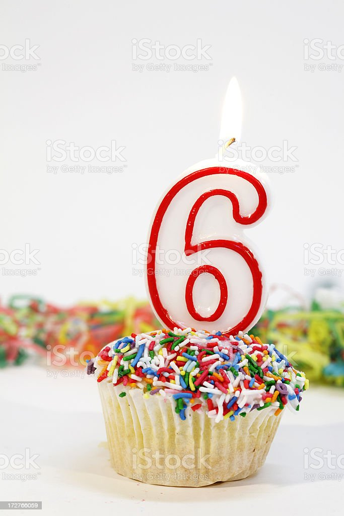 Number 6 Party Cake royalty-free stock photo