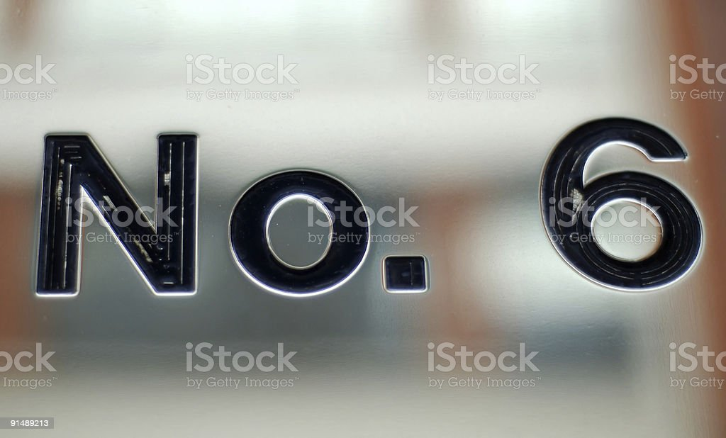 Number 6 royalty-free stock photo