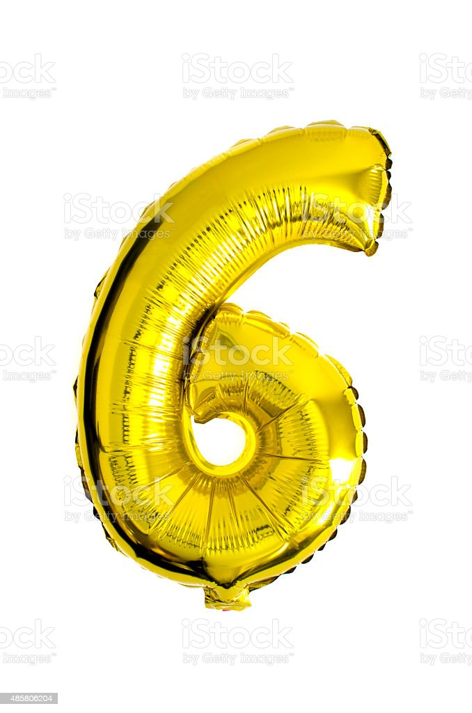 Number 6 written in foil balloons stock photo