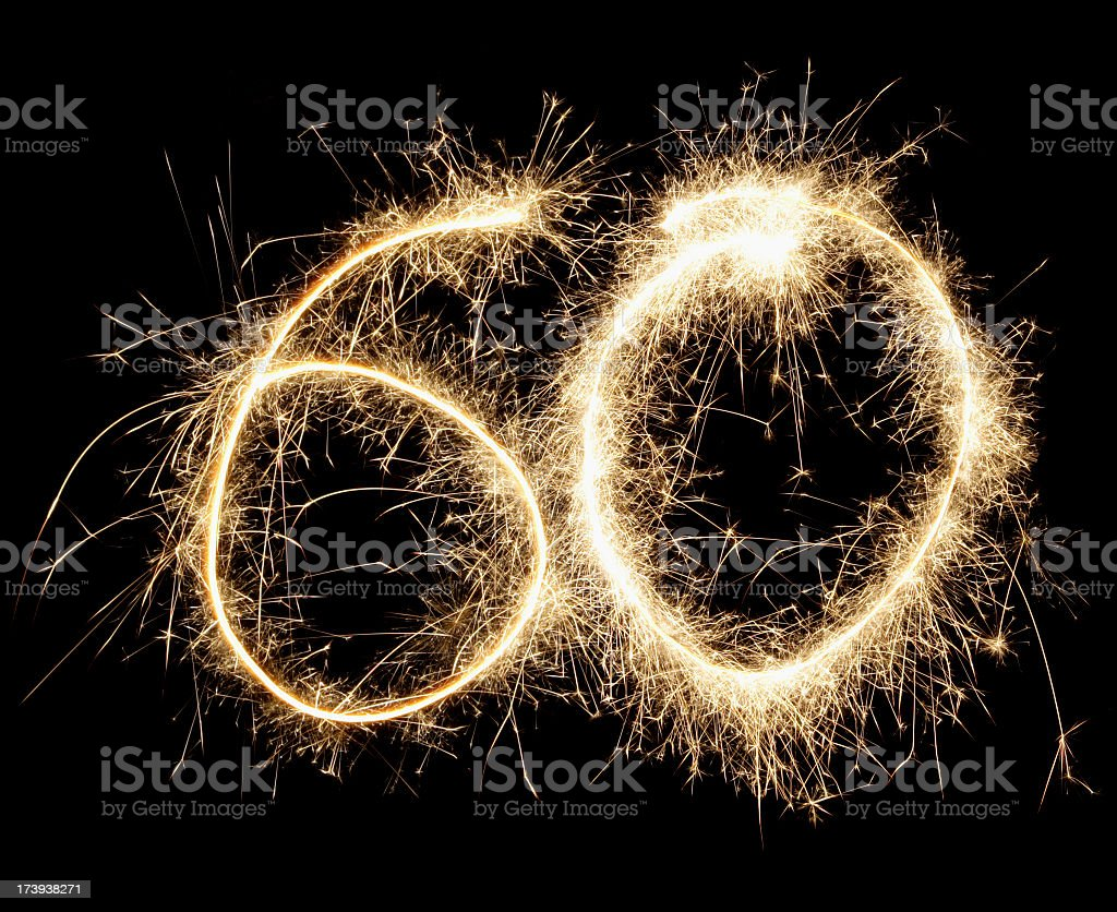 Number 60 made out of fireworks stock photo