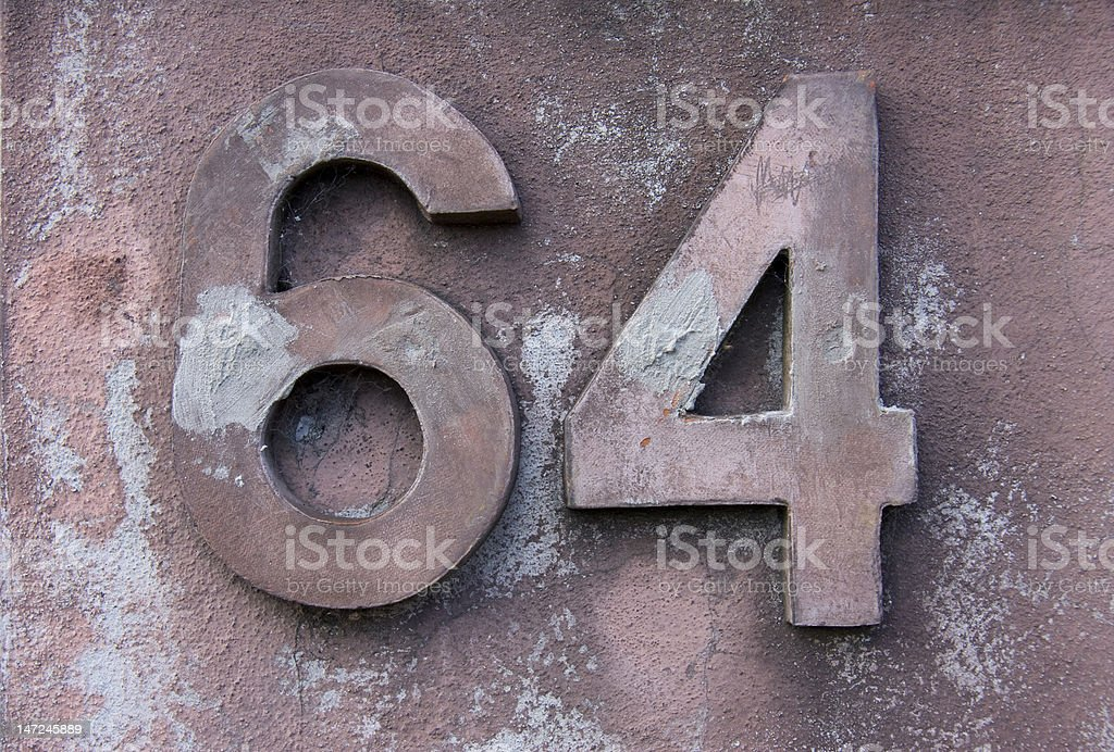 Number 64 royalty-free stock photo