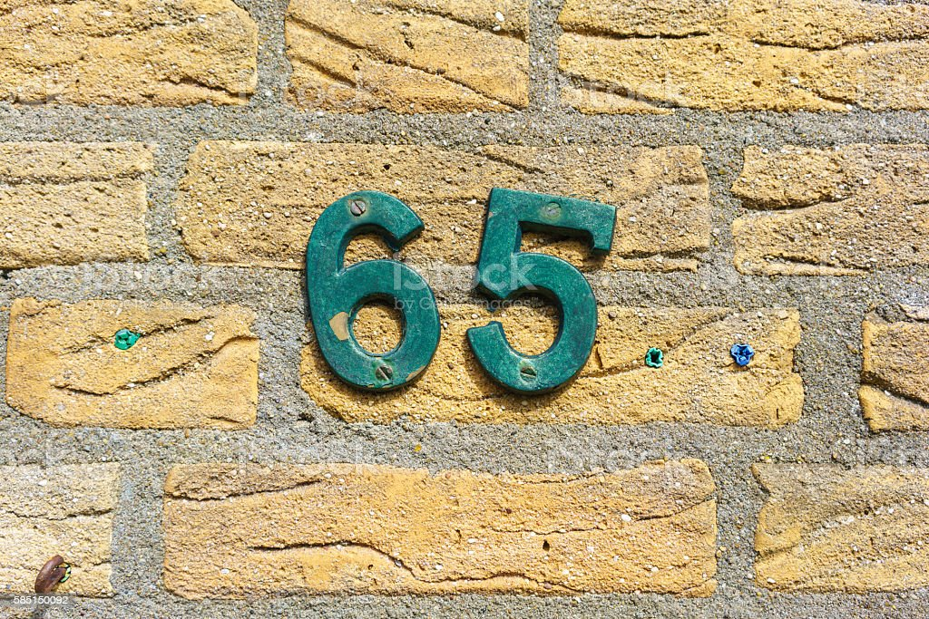 Number 65 stock photo