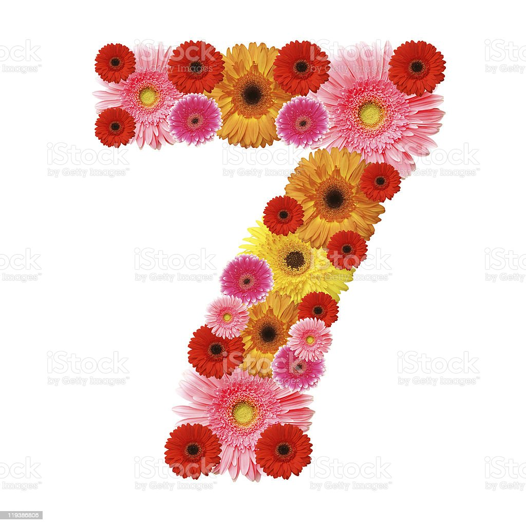 Number 7 composed of pink and yellow daisies stock photo