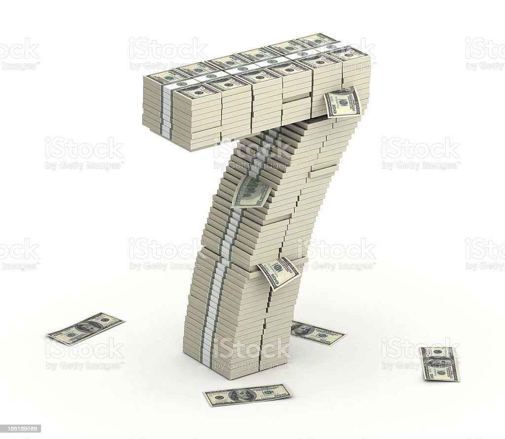 Number 7, font from dollars paks stock photo