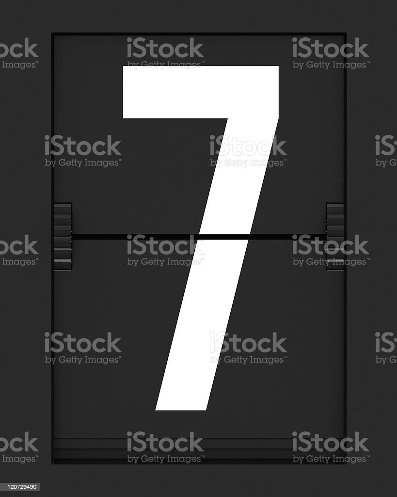 Number 7  from mechanical timetable board royalty-free stock photo