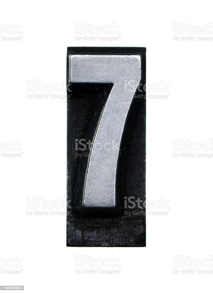 Number 7 - Letterpress letter royalty-free stock photo