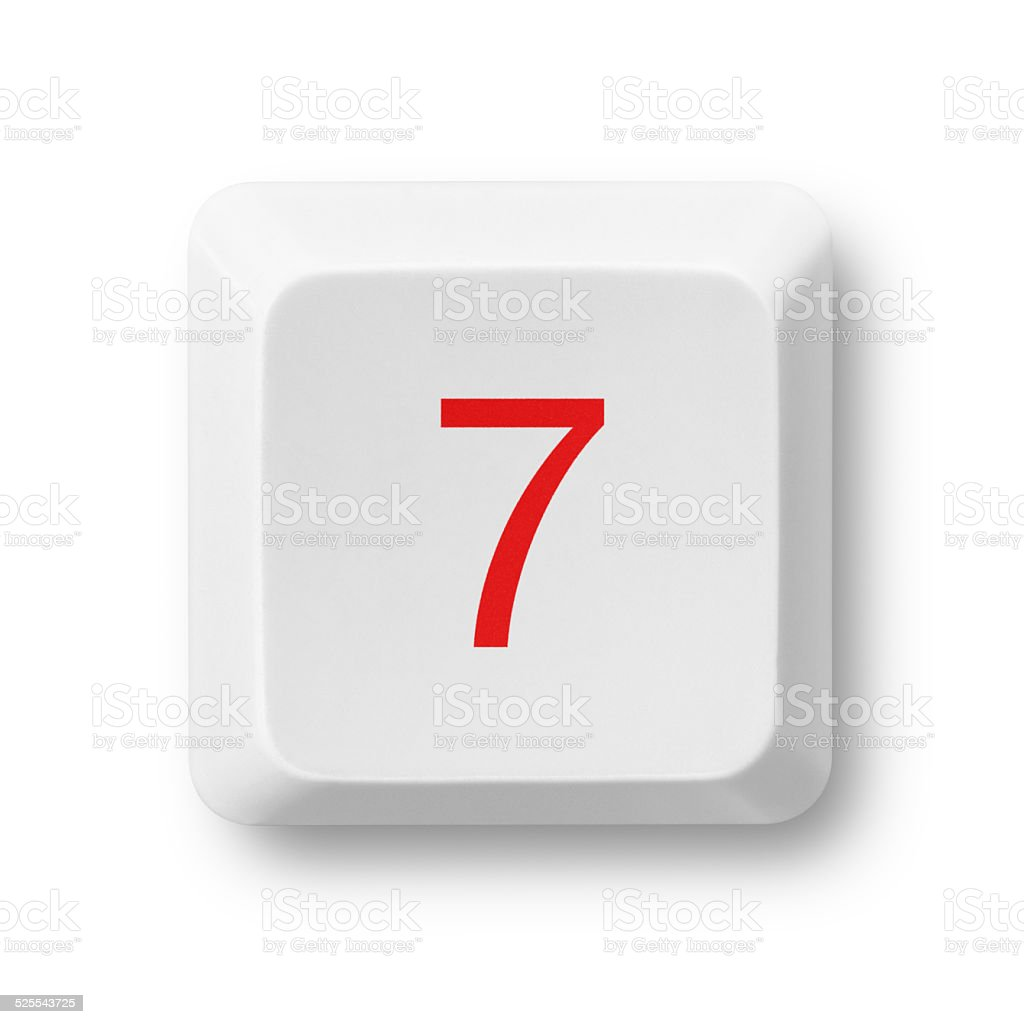 Number 7 on a computer key isolated on white stock photo