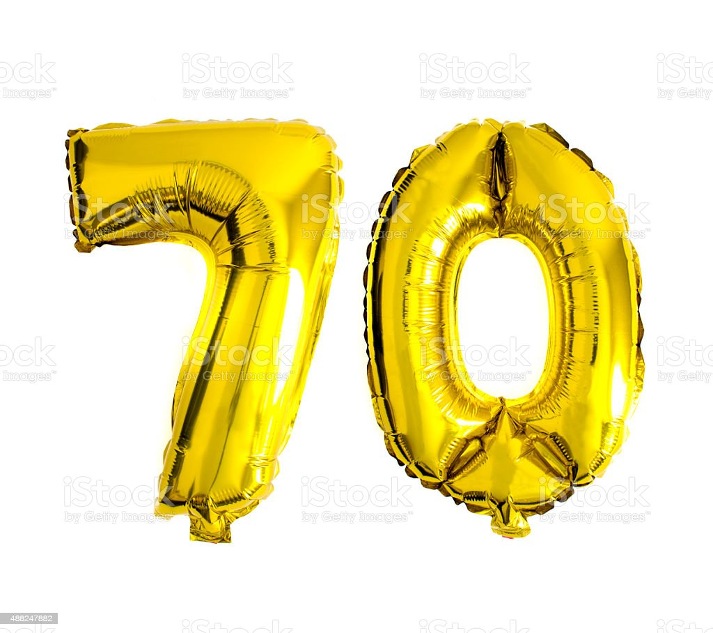Number 70 written with foil balloons stock photo