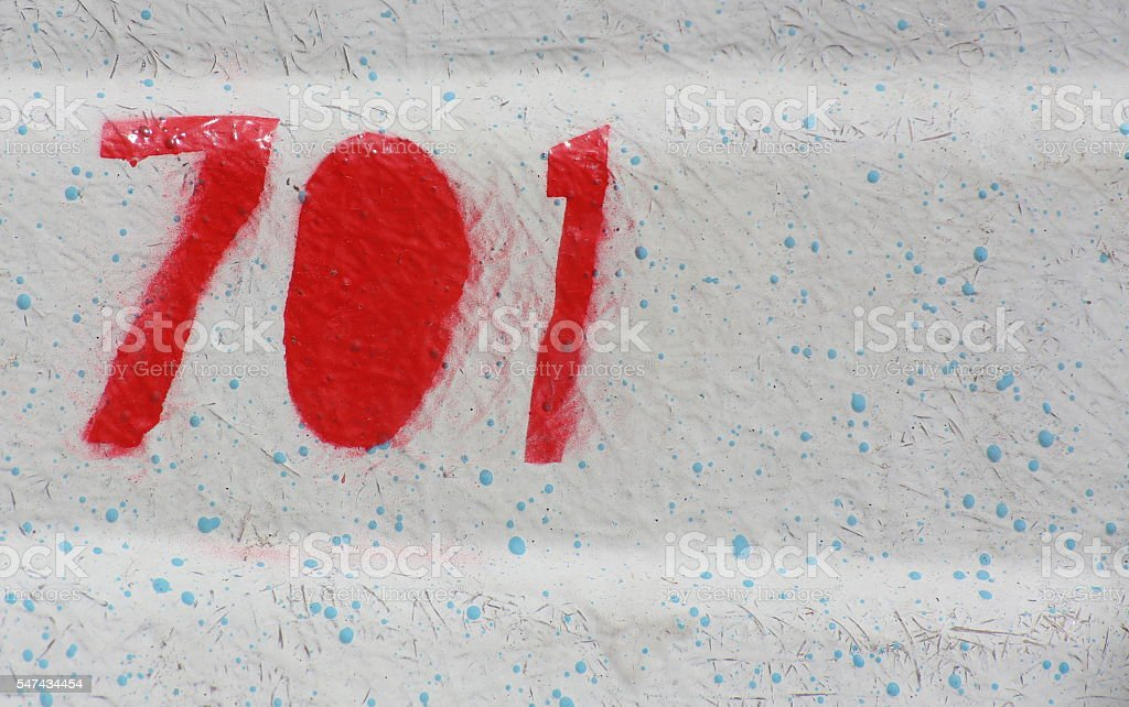 Number 701 painted on the outside of a boat stock photo